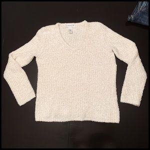 Chaus Long Sleeve V neck cream sweater